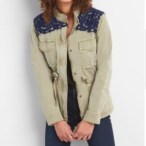 Gap Utility Military Jacket Lace Brocade
